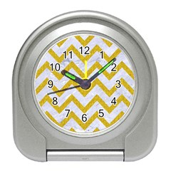 Chevron9 White Marble & Yellow Denim (r) Travel Alarm Clocks by trendistuff