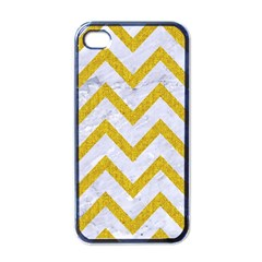 Chevron9 White Marble & Yellow Denim (r) Apple Iphone 4 Case (black) by trendistuff