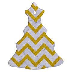 Chevron9 White Marble & Yellow Denim (r) Christmas Tree Ornament (two Sides) by trendistuff