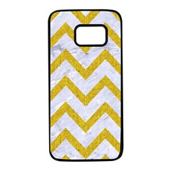 Chevron9 White Marble & Yellow Denim (r) Samsung Galaxy S7 Black Seamless Case by trendistuff