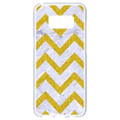 Chevron9 White Marble & Yellow Denim (r) Samsung Galaxy S8 White Seamless Case by trendistuff
