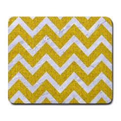 Chevron9 White Marble & Yellow Denim Large Mousepads by trendistuff