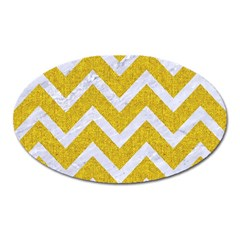 Chevron9 White Marble & Yellow Denim Oval Magnet by trendistuff