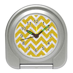 Chevron9 White Marble & Yellow Denim Travel Alarm Clocks by trendistuff