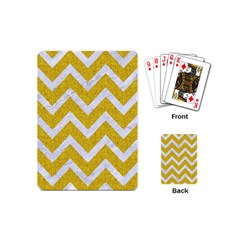 Chevron9 White Marble & Yellow Denim Playing Cards (mini)  by trendistuff