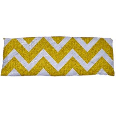Chevron9 White Marble & Yellow Denim Body Pillow Case Dakimakura (two Sides) by trendistuff