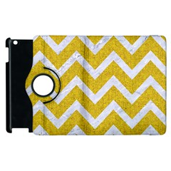 Chevron9 White Marble & Yellow Denim Apple Ipad 2 Flip 360 Case by trendistuff