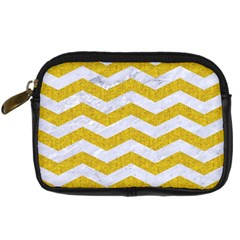 Chevron3 White Marble & Yellow Denim Digital Camera Cases by trendistuff