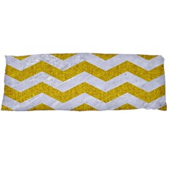 Chevron3 White Marble & Yellow Denim Body Pillow Case Dakimakura (two Sides) by trendistuff