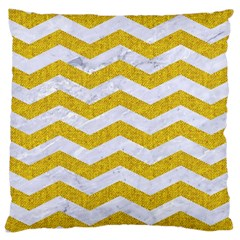 Chevron3 White Marble & Yellow Denim Large Cushion Case (two Sides) by trendistuff