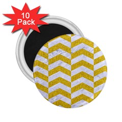 Chevron2 White Marble & Yellow Denim 2 25  Magnets (10 Pack)  by trendistuff