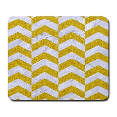 Chevron2 White Marble & Yellow Denim Large Mousepads by trendistuff