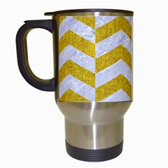 Chevron2 White Marble & Yellow Denim Travel Mugs (white) by trendistuff