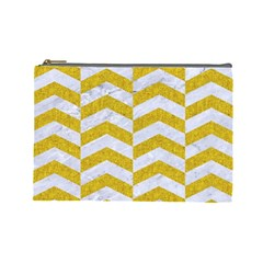 Chevron2 White Marble & Yellow Denim Cosmetic Bag (large)  by trendistuff