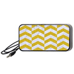 Chevron2 White Marble & Yellow Denim Portable Speaker by trendistuff