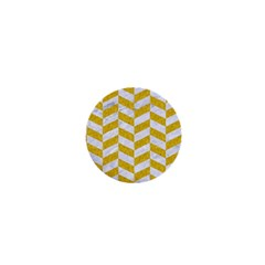 Chevron1 White Marble & Yellow Denim 1  Mini Buttons by trendistuff