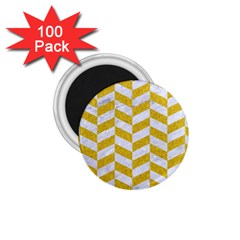 Chevron1 White Marble & Yellow Denim 1 75  Magnets (100 Pack)