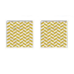 Chevron1 White Marble & Yellow Denim Cufflinks (square) by trendistuff