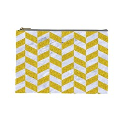 Chevron1 White Marble & Yellow Denim Cosmetic Bag (large)  by trendistuff