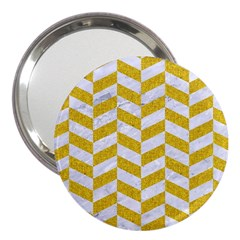 Chevron1 White Marble & Yellow Denim 3  Handbag Mirrors by trendistuff