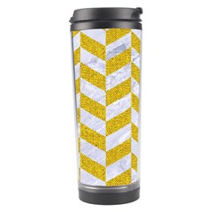 Chevron1 White Marble & Yellow Denim Travel Tumbler by trendistuff