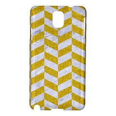 Chevron1 White Marble & Yellow Denim Samsung Galaxy Note 3 N9005 Hardshell Case by trendistuff