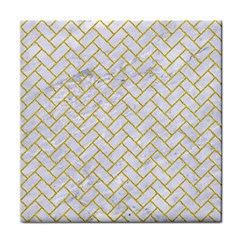 Brick2 White Marble & Yellow Denim (r) Tile Coasters by trendistuff
