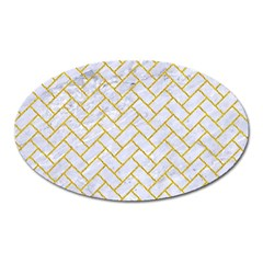 Brick2 White Marble & Yellow Denim (r) Oval Magnet by trendistuff