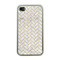 Brick2 White Marble & Yellow Denim (r) Apple Iphone 4 Case (clear) by trendistuff