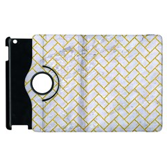 Brick2 White Marble & Yellow Denim (r) Apple Ipad 3/4 Flip 360 Case by trendistuff