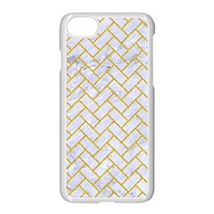 Brick2 White Marble & Yellow Denim (r) Apple Iphone 8 Seamless Case (white) by trendistuff