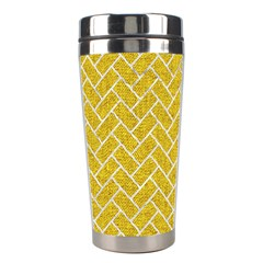 Brick2 White Marble & Yellow Denim Stainless Steel Travel Tumblers by trendistuff