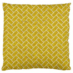Brick2 White Marble & Yellow Denim Large Flano Cushion Case (one Side) by trendistuff