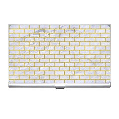 Brick1 White Marble & Yellow Denim (r) Business Card Holders by trendistuff