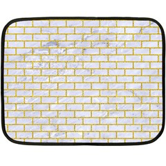 Brick1 White Marble & Yellow Denim (r) Fleece Blanket (mini) by trendistuff