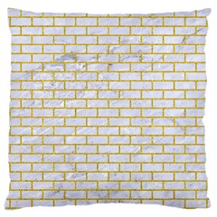 Brick1 White Marble & Yellow Denim (r) Large Cushion Case (two Sides) by trendistuff