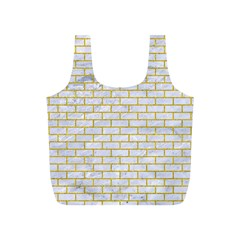 Brick1 White Marble & Yellow Denim (r) Full Print Recycle Bags (s)  by trendistuff