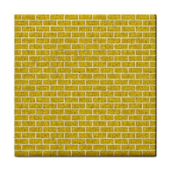 Brick1 White Marble & Yellow Denim Face Towel by trendistuff