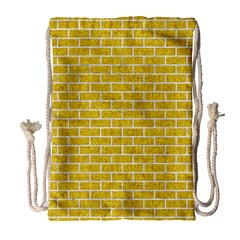 Brick1 White Marble & Yellow Denim Drawstring Bag (large) by trendistuff