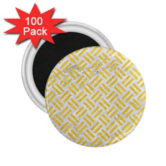 Woven2 White Marble & Yellow Colored Pencil (r) 2 25  Magnets (100 Pack)  by trendistuff