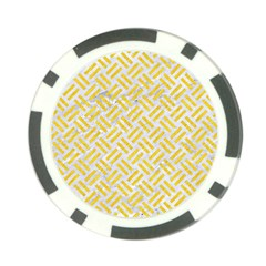 Woven2 White Marble & Yellow Colored Pencil (r) Poker Chip Card Guard by trendistuff