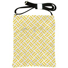 Woven2 White Marble & Yellow Colored Pencil (r) Shoulder Sling Bags by trendistuff