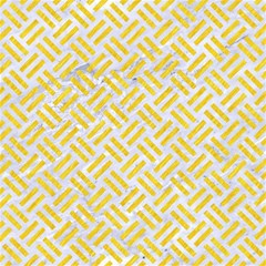 Woven2 White Marble & Yellow Colored Pencil (r) Magic Photo Cubes by trendistuff