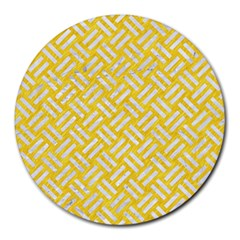 Woven2 White Marble & Yellow Colored Pencil Round Mousepads by trendistuff
