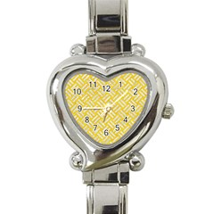 Woven2 White Marble & Yellow Colored Pencil Heart Italian Charm Watch by trendistuff