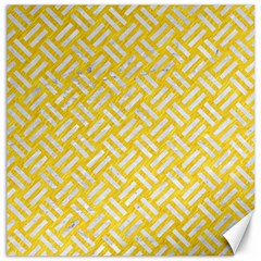 Woven2 White Marble & Yellow Colored Pencil Canvas 12  X 12   by trendistuff