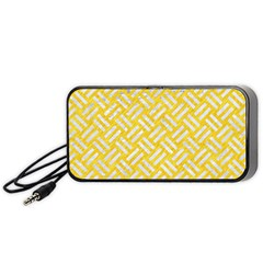 Woven2 White Marble & Yellow Colored Pencil Portable Speaker by trendistuff