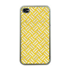 Woven2 White Marble & Yellow Colored Pencil Apple Iphone 4 Case (clear) by trendistuff