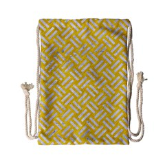 Woven2 White Marble & Yellow Colored Pencil Drawstring Bag (small) by trendistuff