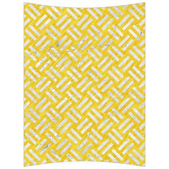 Woven2 White Marble & Yellow Colored Pencil Back Support Cushion by trendistuff